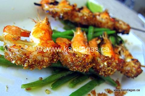 Almond Stuffed Shrimp With Crunchy Green Beans