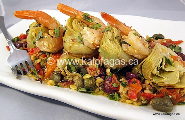 Artichoke Salad With Split-Peas & Shrimp