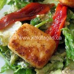 Salad of Smoked Eggplant Dressing With Graviera Croutons & Roasted Peppers