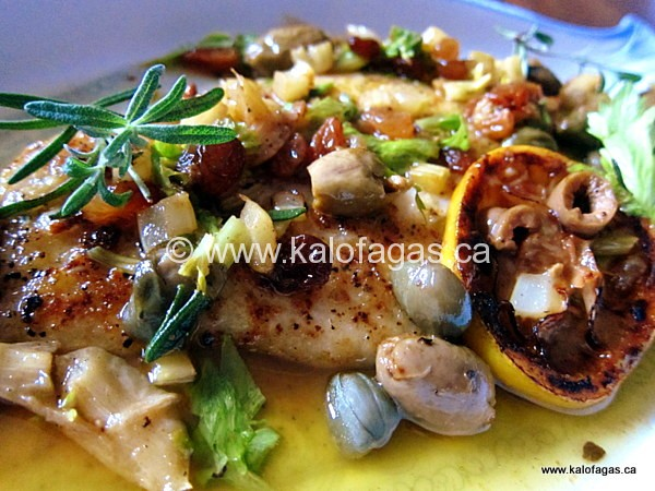 Grouper With Green Olives & Sultanas