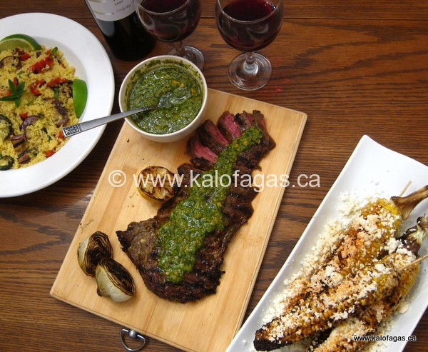 Mousto-Balsamico Flank Steak With Greek-Style Chimichurri