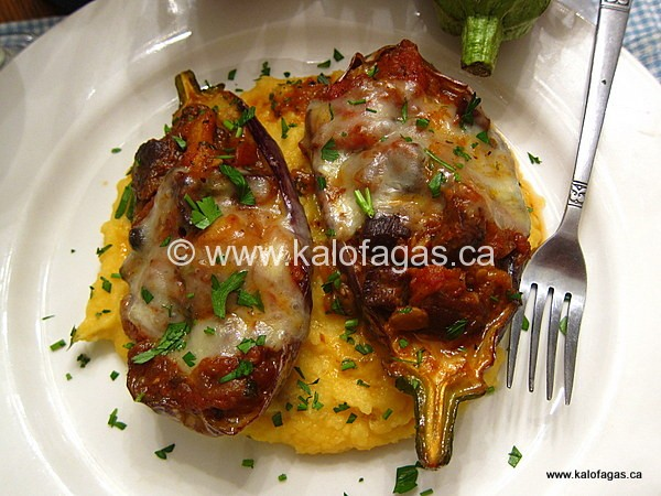 Baked Eggplant With Beef and Cheese