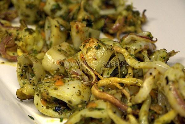 Grilled Calamari With Vine Leaf Chimichurri Sauce