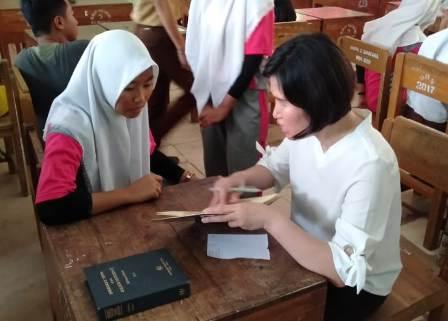 Ketgam : Suasana pemeriksaan buga warna oleh dr. Arimaswati