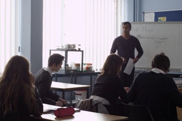A classroom scene from The Scribbler, directed by Kurosh Kani.