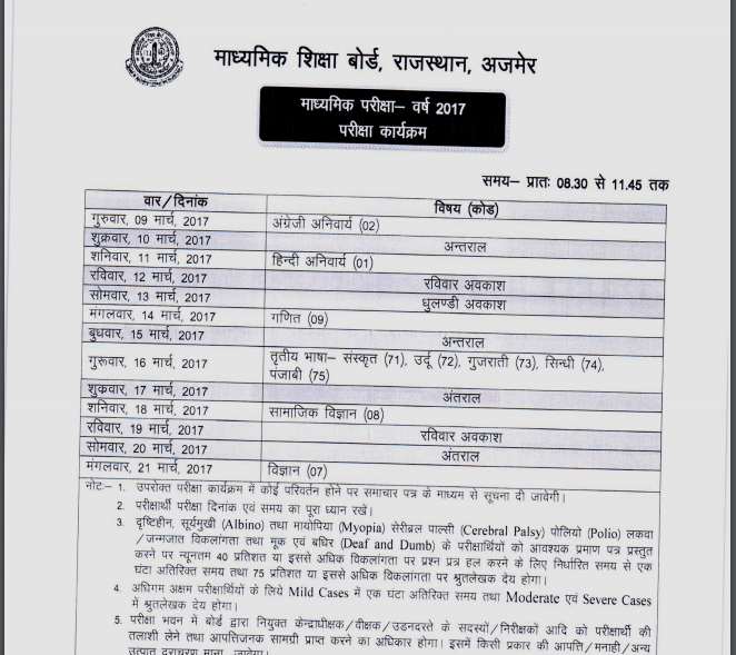 Rajasthan Board 10th Time Table 2018, RBSE Secondary Exam