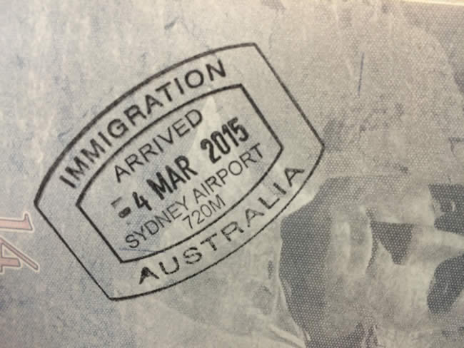 immigration stamp at Sydney airport