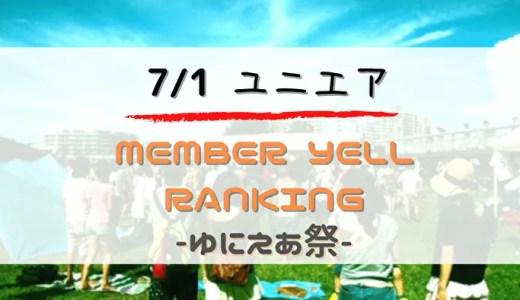 【ユニエア】限定グッズ獲得のチャンス!7/1より「MEMBER YELL RANKING」開催