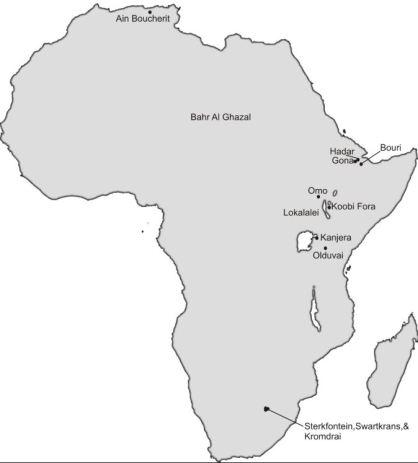 Un mapa de África que muestra a Ain Boucherit y otros sitios importantes en África con fósiles de Oldowan y homínidos. Fotografía: M. Sahnouni