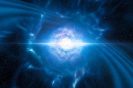 Esta ilustración muestra a dos pequeñas, pero muy densas, estrellas de neutrones en el punto en el que se fusionan y explotan como una kilonova. ESO/L. Calçada/M. Kornmesser.