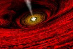 Ilustración cedida por la NASA de un agujero negro supermasivo.