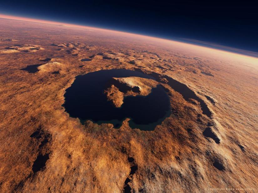 Imagen artística del antiguo lago que se encontraba en el cráter Gale (© Kees Veenenbos). Facilitada por el CAB.