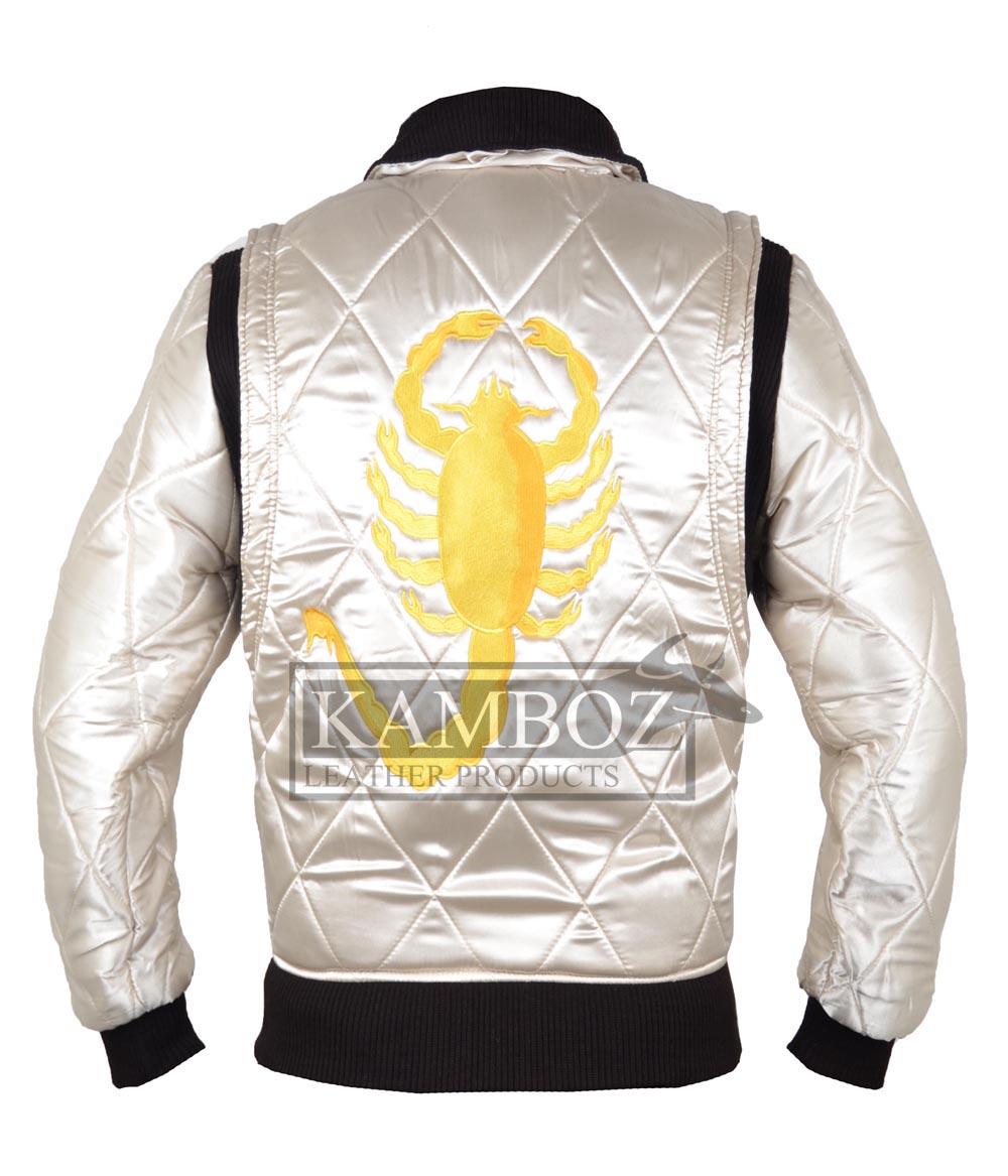 749628b44 Ryan Gosling Drive Jacket White with Golden Scorpion | Kamboz.com