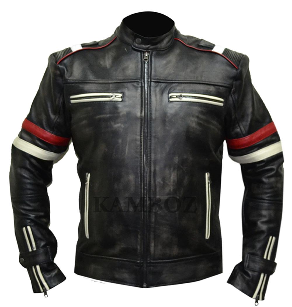 Vintage Leather Jacket >> Retro Leather Jacket With White Waxing V1 Kamboz Com