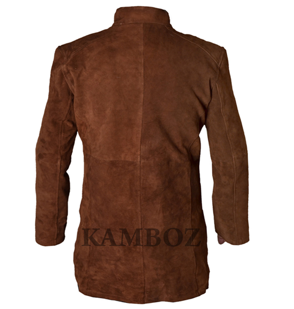 178ed45b8 Men's Sheriff Walt Long mire Robert Taylor Genuine Leather Trench Coat  Brown & Black