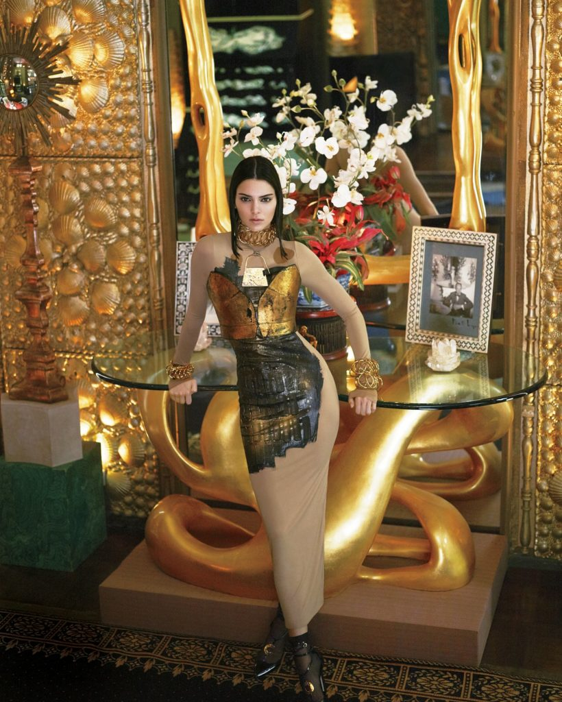 Midas Touch | Dress, leather bra, jewellery and shoes by Loewe