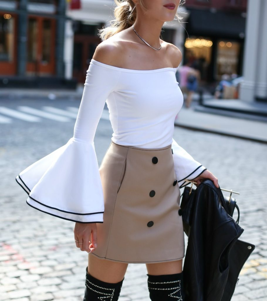 camel-khaki-double-breasted-mini-skirt-studded-over-the-knee-boots-off-the-shoulder-bell-sleeve 1