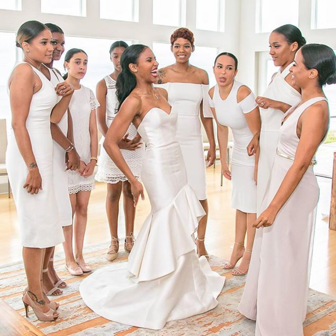 More brides are letting their bridemaids wear white we love it bridesmaids wearing white 11 junglespirit Choice Image