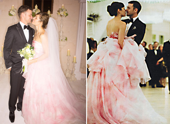 So long white and hello frothy-pink. Biel kept it untraditional with a dreamy Giambattista Valli gown at her wedding to Justin Timberlake in October 2012.