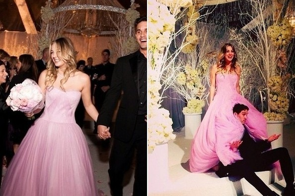 """The Big Bang Theory"" actress also kept it untraditional with a strapless bubblegum-tinted wedding gown that can only be described as delicious."