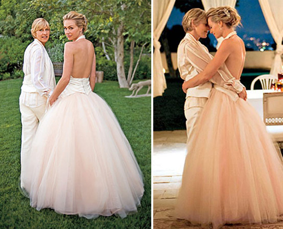 Portia de Rossi opted to go off-white—super off—with a pale pink-tinted wedding gown designed by Zac Posen.