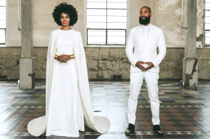 Solange's dress, which was designed by Humberto Leon, cover her up to her neck, but it also had the coolest twist on a traditional train: a floor-length cape.