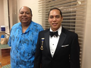 Ali'i No'eau Loa Sir Milton Anderson and La'au Ali'i Nui Sir Kanani Baker were guest speakers at Hui Pū tonight at Bishop Museum. Both are members of the Royal Order of Kamehameha I and of the Masons. They spoke about the connections between the two organizations and informed us about the activities of Free Masons.