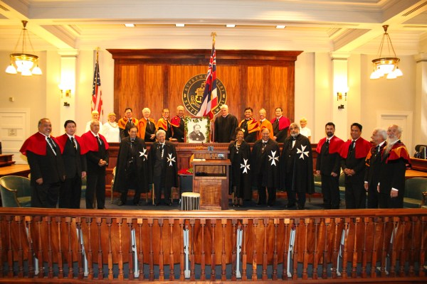 The Chief Justices of the Hawaiʻi Supreme Court joined the Royal Order of Kamehameha I and honored guests in commemorating the 184th birthday of King Kamehameha V.