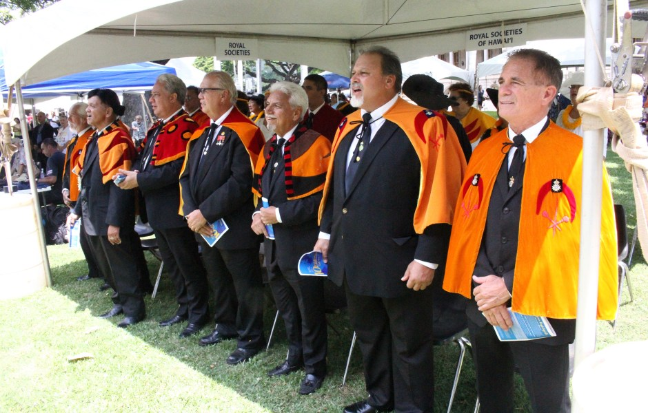 The men and women of the Royal Order of Kamehameha I represent at this morning's 'Onipa'a Celebration at 'Iolani Palace.