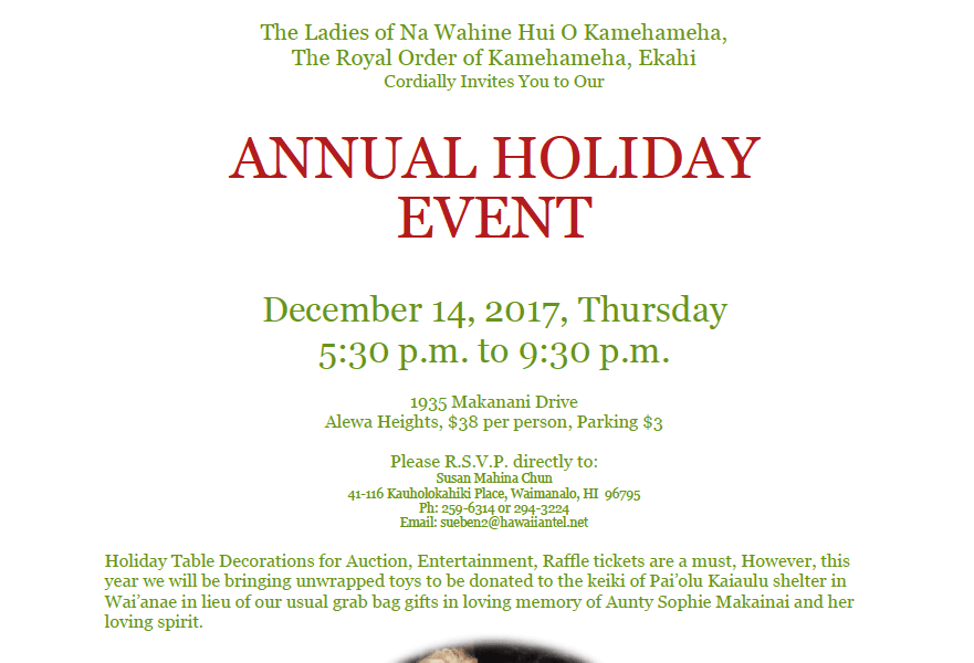 NA WAHINE ANNUAL HOLIDAY EVENT