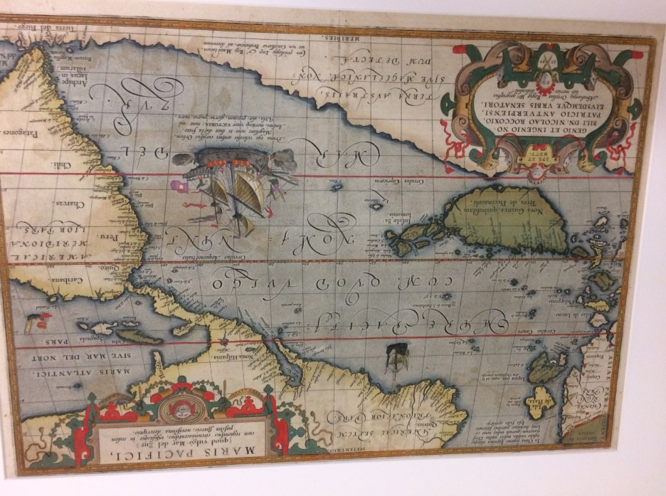 This map was recently donated by Linda Kahn — oldest map of Pacific, Danish — Hawaii was not yet discovered.