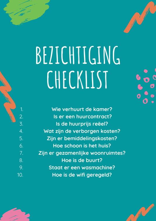 kamerbezichtiging checklist
