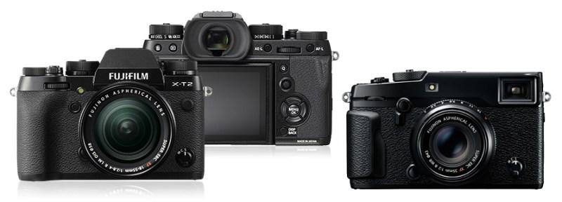 RETRO: Fujifilm har en utpreget retrostil på sine kameraer, selv om det kanskje er mer utpreget på X-Pro2 (til høyre) enn på det nye X-T2. (Foto: Fujifilm, montasje: Kamerablogg)