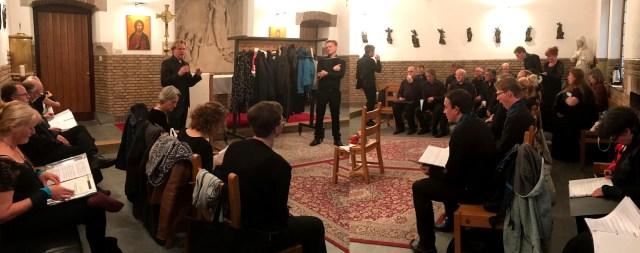 voorbereiding, kamerkoor Lux o.l.v. Raoul Boesten, concert Baltische Zomer, 18 mei 2019, Den haag.
