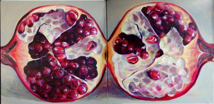 pomegranate paintings, fruit paintings
