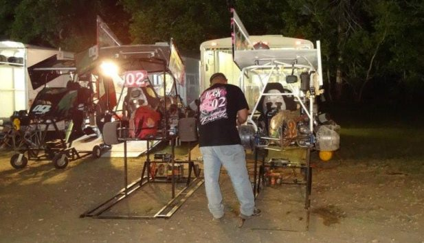 Fred wrenching on 2 karts