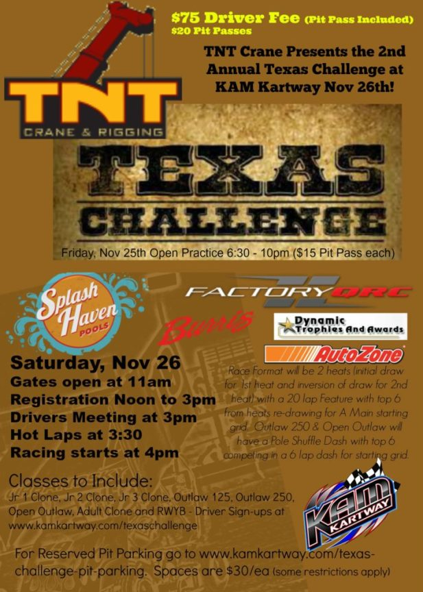 TNT Crane & Rigging Presents the Texas Challenge at KAM Kartway
