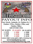 Duel in the Dirt Event Payout Flyer