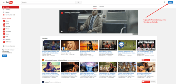 YouTube sign in page