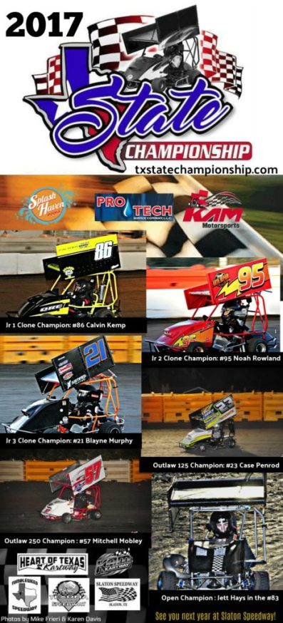Texas State Championship Title Winners for 2017 from KAM Kartway