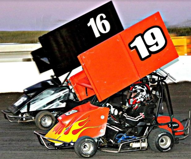 Texas State Championship at KAM Kartway with Pierce Urbanosky and Mike Rogers in the Open Outlaw Class - photo by Mike Frieri