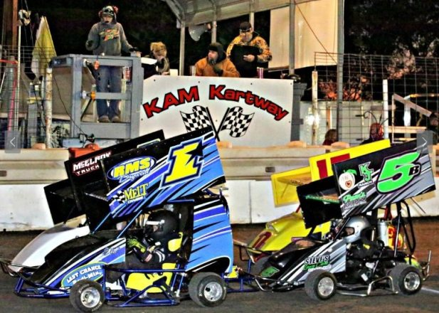 Texas State Championship Young Gun starting lineup with flagstand staff at KAM Kartway