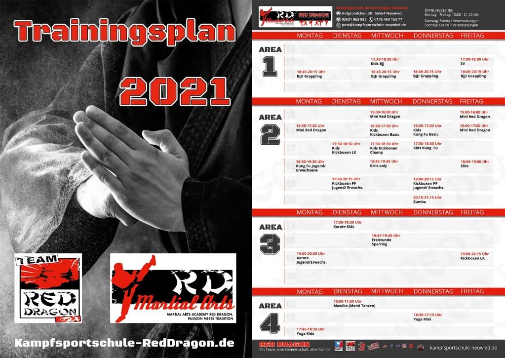 Trainingsplan Kampfsportschule Neuwied 2021