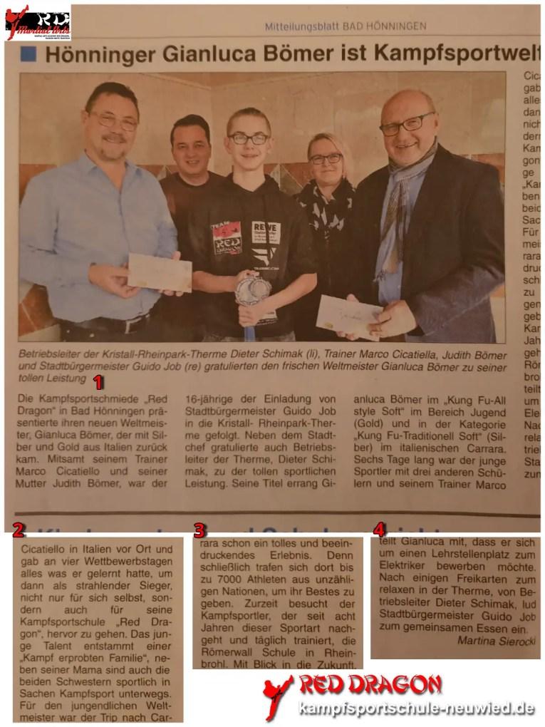 Zeitung 2019 Kampfsportschule Neuwied