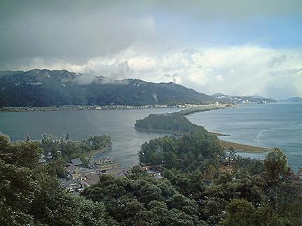 View of Amano-hashidate from Genmyoan