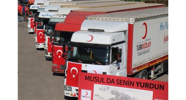 Musul'a ilk yardım kamyonları ulaştı