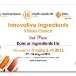 Certificate for Roasted award resized - Kancor's range of Roasted Spice Oleoresins wins the Innovative Product Award at Food Ingredients India 2016