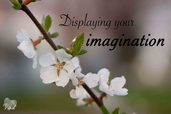 white flowers on a tree with a blurry green background and the caption displaying your imagination