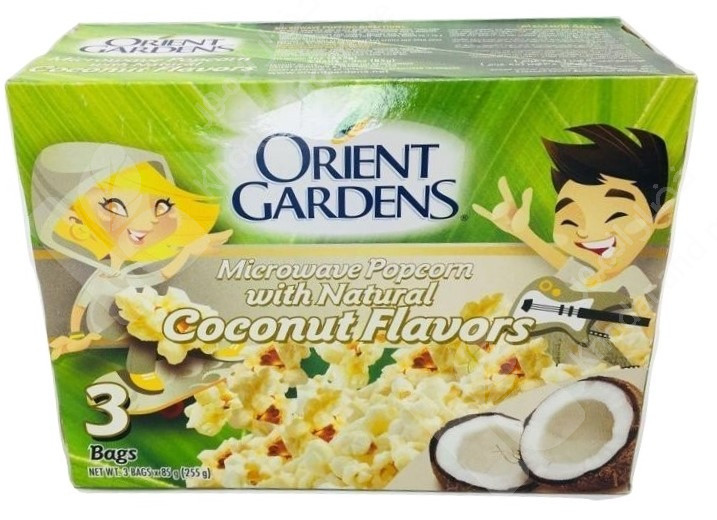 orient gardens microwave popcorn with coconut flavors 3 bags 225gm
