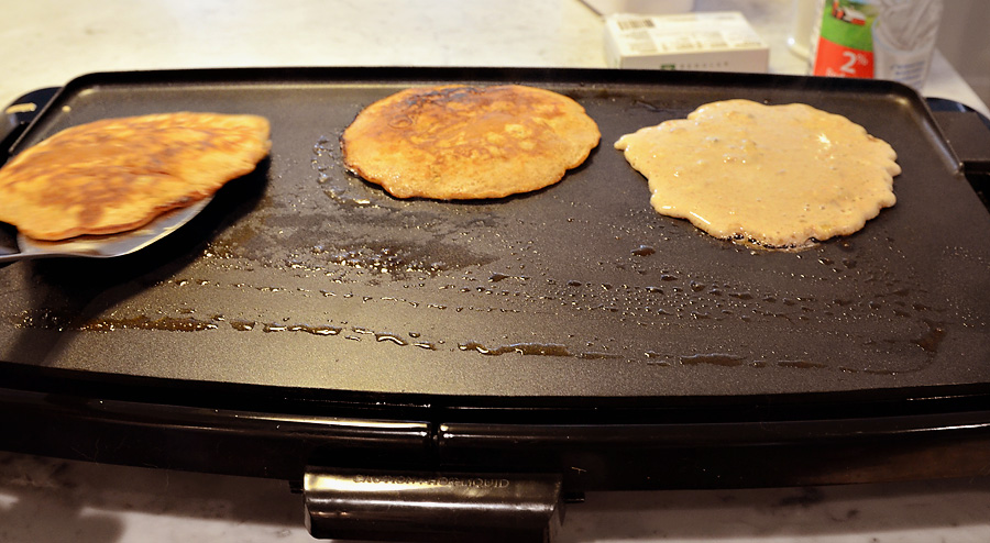 Flapjacks on griddle
